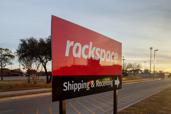Rackspace Shipping & Receiving sign on I-35